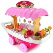 KidzFan 39 Pieces Beautiful Kid's Ice Cream Candy Cart Pretend Play Food Dessert and Cash Trolley Toy Set With Light