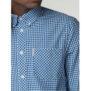 Ben Sherman Main Line Sky Blue Long Sleeve Gingham Shirt Sml sky blue