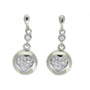 Cercei Lungi Cu Model Inima, Din Argint 925, Decorati Cu Zirconiu