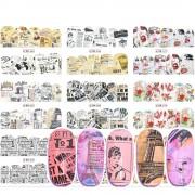 12 OntwerpenRetro Ontwerp WaterNail Sticker Water Decals Slider Bloem Tattoos DIY Volledige Cover Wraps Gereedschap JIBN565-576 Ji Ji Trendy Nail