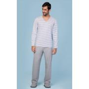 Pijama Masculino Adulto Longo Lua Encantada Estampa de Listrada Mescla