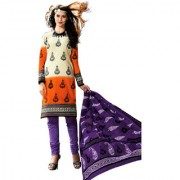 Drapes Multicolor Dupion Silk Embroidered Salwar Suit Dress Material (Unstitched)
