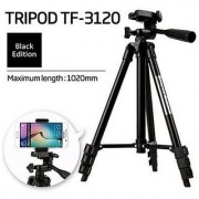 CloudD Tripod- 3120 Fordable Tripod with Mobile Clip Holder Bracket Fully Flexible Mount Stand with 3D Head Quick Rele