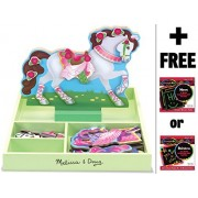 My Horse Clover - Magnetic Dress Up Wooden Doll & Stand + FREE Melissa & Doug Scratch Art Mini-Pad B