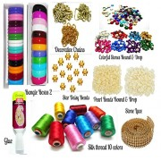 GOELX Silk Thread Bangles making kit, 2 full bangle boxes, Full box Silk thread 10 colors,decorative chains & all materials!!