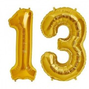 Stylewell Solid Golden Color 2 Digit Number (13) 3d Foil Balloon for Birthday Celebration Anniversary Parties