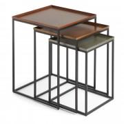 Kave Home Conjunto Vinker F de 3 mesa , en Metal - Prata