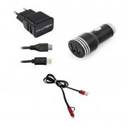 Owlotech Carregador Lightning x 2 USB + Cabo Conversor USB/Micro USB/Lightning + Carregador USB para Carro
