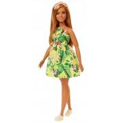 Mattel Barbie Fashionista. Bambola Bionda con Vestito Giallo Stampa a Fiori