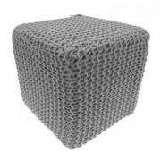 CUBO DESIGN - Pouf rivestito in maglia di cotone Grigio