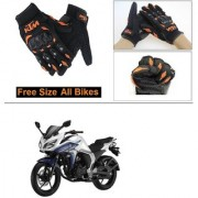 AutoStark Gloves KTM Bike Riding Gloves Orange and Black Riding Gloves Free Size For Yamaha FZ S V 2.0