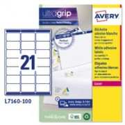 > Etichetta adesiva L7160 bianca 100fg A4 63,5x38,1mm (21et/fg) Avery (unit