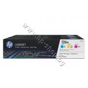 Тонер HP 126A за CP1025/M175/M275 3-pack, 3 цвята (3x1K), p/n CF341A - Оригинален HP консуматив - к-т 3 тонер касети