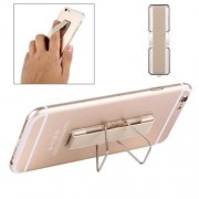2 in 1 Adjustable Universal Mini Adhesive Holder Stand + Slim Finger Grip for Mobile Phones and Tablets Size: 7.3 x 2.2 x 0.3 cm(Gold)