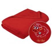 Brotex Detská micro deka 75x100cm červená s výšivkou