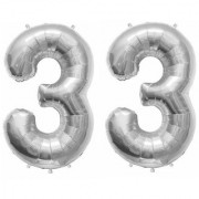 De-Ultimate Solid Silver Color 2 Digit Number (33) 3d Foil Balloon for Birthday Celebration Anniversary Parties
