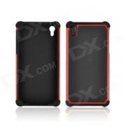 Angibabe Patron 2-en-1 Futbol Grain Plastic + cubierta de silicona para Sony Z2 - Rojo + Negro