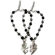 Men Style 5mm Beaded Couple Broken Heart Best Friend Forever Wristband For Unisex SBr007019 Black and Silver Wood Alloy Heart Bracelet For Men and Women