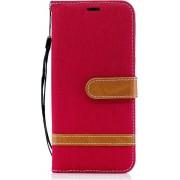 Denim Book Case Samsung Galaxy A6 (2018) Hoesje - Rood