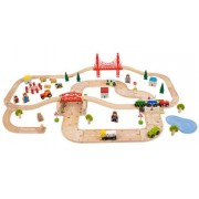 Vasúti pálya és úttest fából Rural Road and Rail Set BJT021