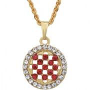 MissMister Gold Plated Round Shape Bridal Red Coloured CZ and White CZ Fashion Chain Pendant Women Stylish Latest