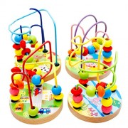 Vosarea Wooden Bead Maze Roller Coaster Abacus Beads Circle Toys for Kids Boys Girls Random Style