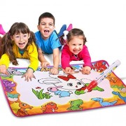 """Aquadoodle Mat, 7 Color Water Drawing Pad, Educational Painting Board with 2 Magic Water Pens, 8 Drawing Molds and 1 Brush for Kids Toy/Home/Travel/Education (33.86"""" X 22.5"""")"""