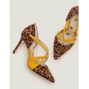 Boden Hellbraun, Leopardenmuster/Sonnengelb Rosemary High Heels Damen Boden, 41½, Brown
