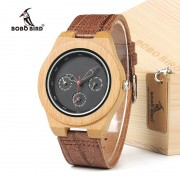 BOBO BIRD H28 Mens Wooden Bamboo Watch with Leather Band 3ATM Water Resistant Wristwatch Timepiece for Mens Womens in Box
