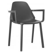 SCAB design Set 4 SCAB Design Stoelen PIÙ Armleuningen - Antraciet Grijs