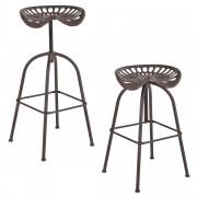 [en.casa]® Bárszék Belgrád 2 darabos fém design konyhai szék szett 72 x 42 x 36 cm rozsdabarna