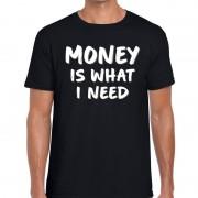 Bellatio Decorations Money is what i need tekst t-shirt zwart heren
