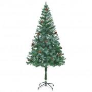vidaXL Изкуствено коледно дърво с шишарки, 180 см