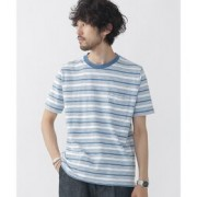 //インディゴスラブボーダーTシャツ【ナノ・ユニバース/nano・universe メンズ Tシャツ・カットソー ブルー ルミネ LUMINE】