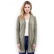 ランズエンド LANDS' END レディース・リネンコットン・ロングカーディガン/長袖(スモーキーオリーブマール)