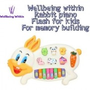 Wellbeing Within Rabbit Piano With Flashing Light Toy For Creative Mind Development (Multicolor)
