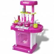 vidaXL Kuchnia dla dzieci ze światłem i dźwiękiem, różowa