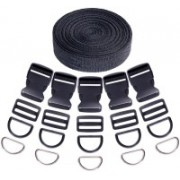 DIY Crafts Buckles and Tri-Glide Slides and D Rings & Nylon Webbing Straps(41 pcs) Luggage Strap(Black)