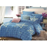Lenjerie de pat pentru o persoana cu husa de perna dreptunghiulara Blue smile bumbac mercerizat multicolor
