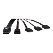 Inter-Tech - Câble SATA / SAS - Serial ATA 150/300/600 - crossover - 4i Mini MultiLane 36 broches pour SATA 7 broches - 65 cm - noir