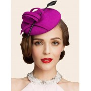 rosegal Wool Spiral Band Feather Cocktail Hat