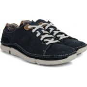 Clarks Trikeyon Mix Blue Leather Sneaker Shoes For Men(Navy)