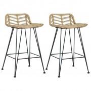 vidaXL Krzesła barowe, 2 szt., naturalny rattan
