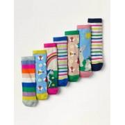 Mini Regenbogenszene Box mit Socken im 7er-Pack Mädchen Boden, 23-26, Multi