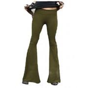 DressUWomen Pantalones Largos de Color Liso para Mujer, Parte Inferior con Campana Informal, para Ocio, para el Tiempo última intervensión, Verde, XXXL