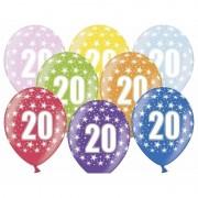 Merkloos 30x stuks verjaardag ballonnen 20 jaar thema met sterretjes - Ballonnen