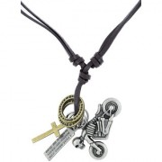 The Jewelbox Hip Hop Punk Scooter Cross Bronze Vintage Dog Tag Oxidised Leather Pendant Chain Boys