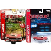 Christine Stephen King Car Plymouth Fury Hobby Exclusive Model Junkyard Version (Dirty) 2017 Auto World Christine &1958 Plymouth Fury Blood Red Movie Creepy Set Limited Edition 2-Pack Johnny Lightning