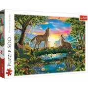 Puzzle familie Trefl 500 piese - Lupi in natura