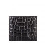 Schwarze Herren Geldbörse mit Münzfach in Kroko Optik - Brieftasche, Portemonnaie, Geldbeutel, Kreditkartenetui
